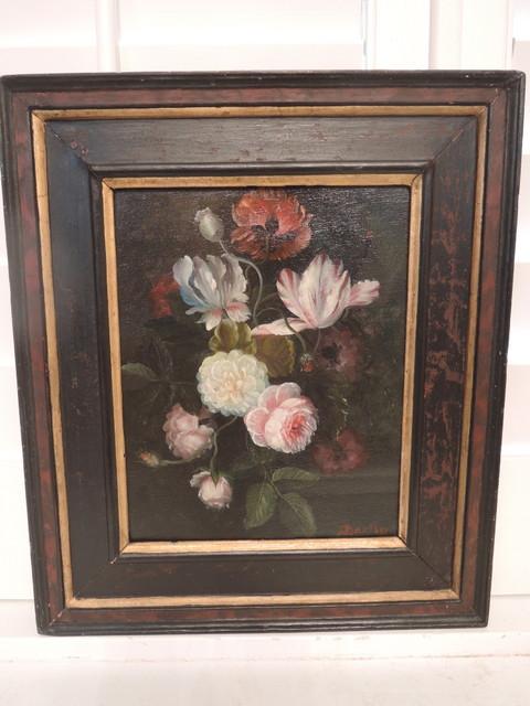 Antique Still Life Floral Botanical Framed Painting Bartin