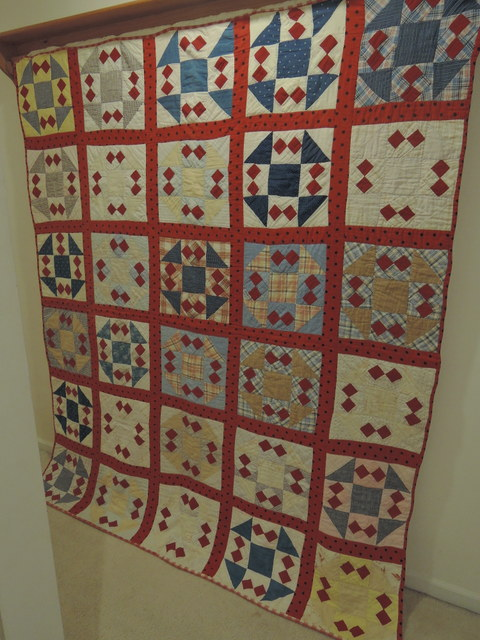 "Antique 1800's Pieced Shoo Fly Red White Blue 70"" x 70"" Quilt"