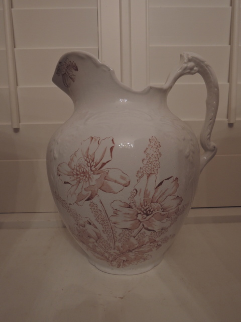Antique Brown Transferware Ironstone White Ornate Large Pitcher Utah