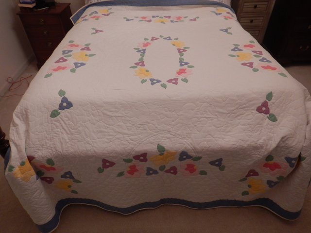 "Gorgeous Hand Applique Quilt Hand Quilted Floral Basket 92"" x 82"" Blue Border"