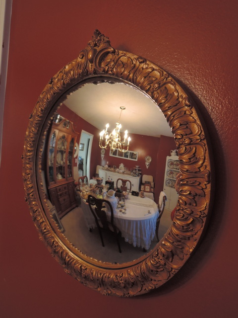 Vintage English Ornate Gilt Framed Convex Wall Mirror 1940's