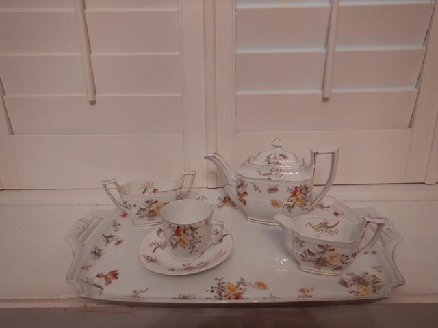 Antique Victorian Porcelain Tea Set Cabaret Teapot Tray Florals Bachelor For One