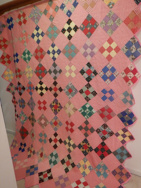 """Pink 9 Patch Handmade Quilt Hand Quilted 1930-40's Fabrics Tiny Stitches 82"""" x 74"""""""