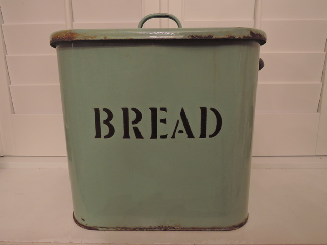 Vintage English Green Enamelware Bread Box/Bin Enamel 1920's