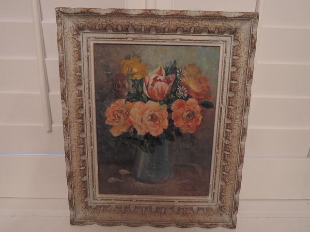 Framed Oil Painting on Board Peach Florals Still Life French c.1940 M. Doumen Signed