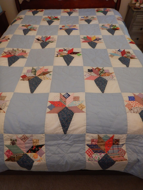 """Vintage Nosegay Bouquet Quilt Hand Quilted 93"""" x 67"""" 1950's Fabrics"""