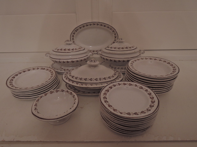 Antique Child's 36pc. Brown Transferware Copeland Hearts Dishes Set c.1870