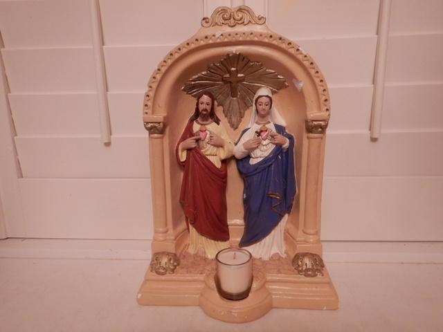 Vintage Chalkware Religious Shrine Altar Mary & Jesus Grotto Statue 1940's