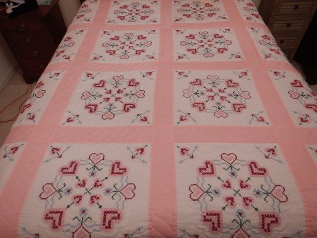 """Vintage Pink Hearts Embroidered & Hand Quilted Quilt 90"""" x 90"""""""