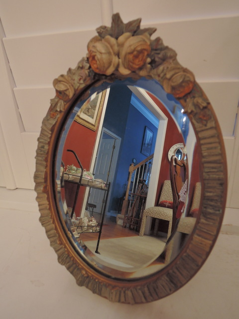 Antique English Barbola Beveled Ladies Dresser Mirror w/Gesso Roses & Ribbon 1920's