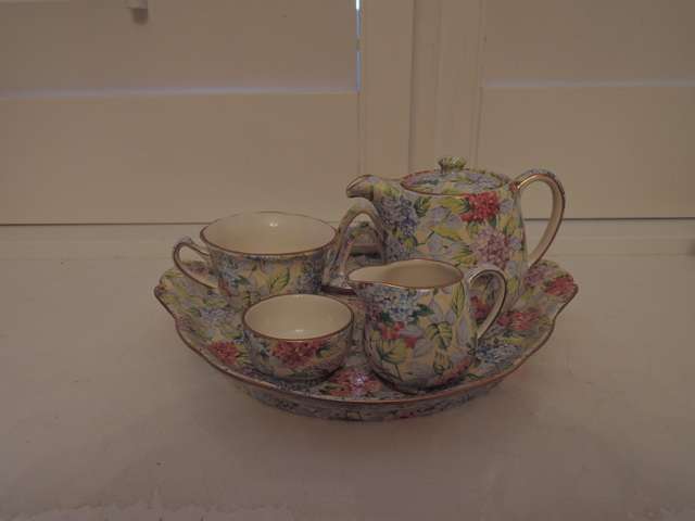Vintage James Kent Chintz Hydrangea Breakfast Set 100 Year Anniversary
