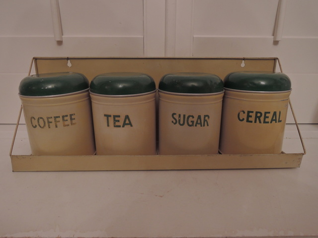 English Worcester Ware Tin Canisters Set & Rack Cream & Green 1920's Rare!