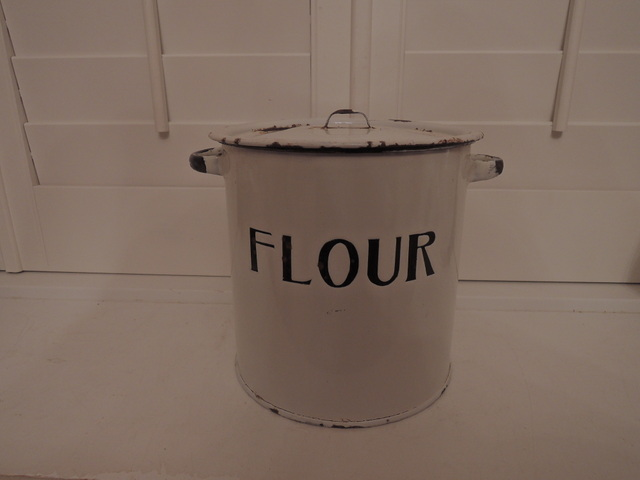 Antique English Enamelware Flour Bin Canister Enamel 1920's White w/Black