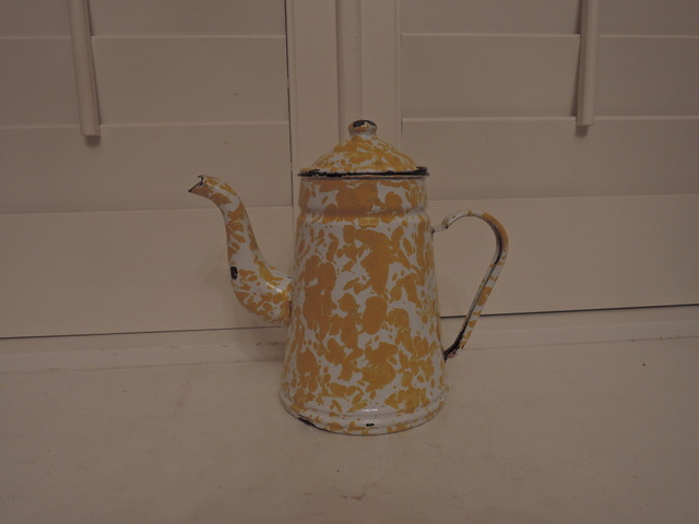 Rare! Vintage French Yellow Swirl Enamelware Teapot/Coffee Pot 1930's
