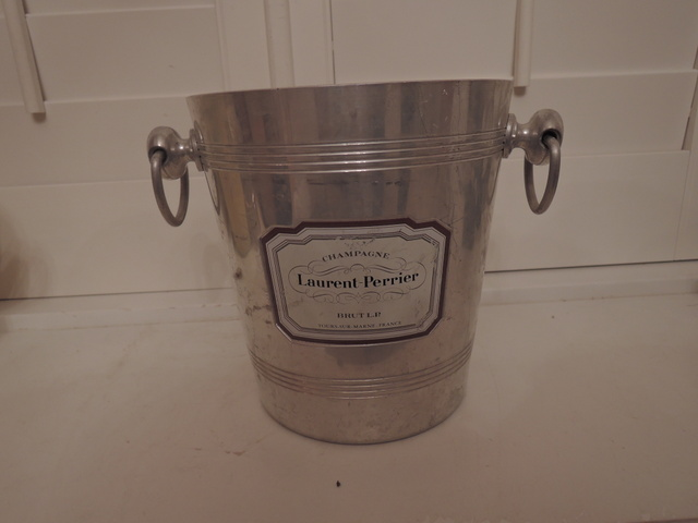 Vintage French Metal Champagne Handled Ice Bucket Laurent-Perrier