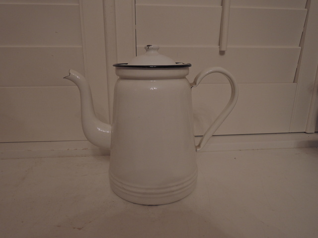 Vintage French White Enamel w/Cobalt Blue Rim Coffee Pot 1930's Enamelware