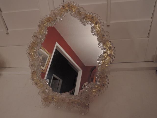 Large Vintage Italian Venetian Dresser Mirror Murano Glass Ladies Vanity