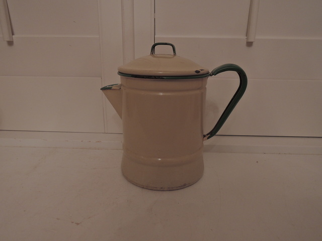 Vintage French Enamel Cream & Green Teapot/Coffee Pot Enamelware