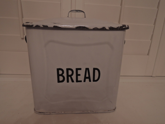 Vintage English Classic White Enamel Bread Box Enamelware Bin 1930's