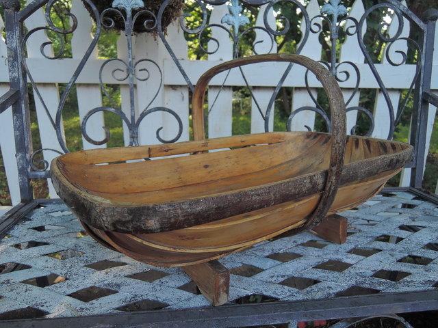 Huge Vintage English Garden Trug Wooden Basket Bent Wood Gathering