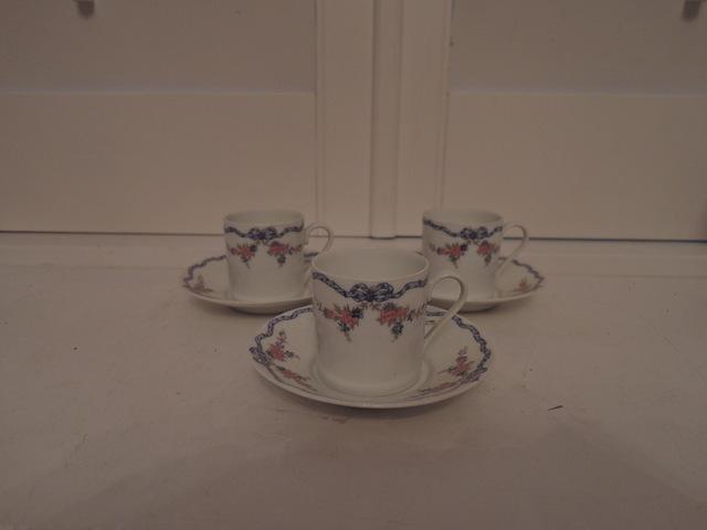 Vintage GDA Limoges Set of 3 Demitasse Cup & Saucer Blue Ribbon Pink Florals