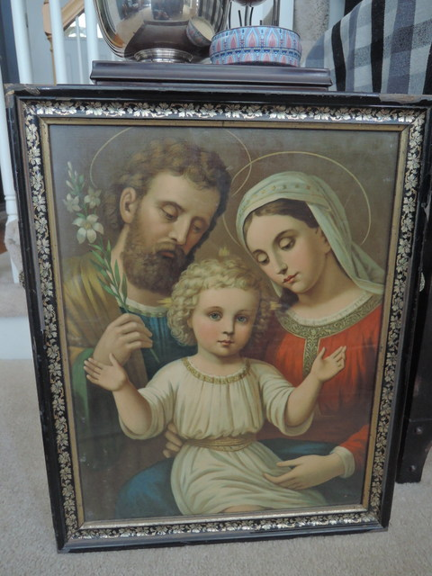Antique Large Framed Print Baby Jesus, Mary, & Joseph Religious Holy Family