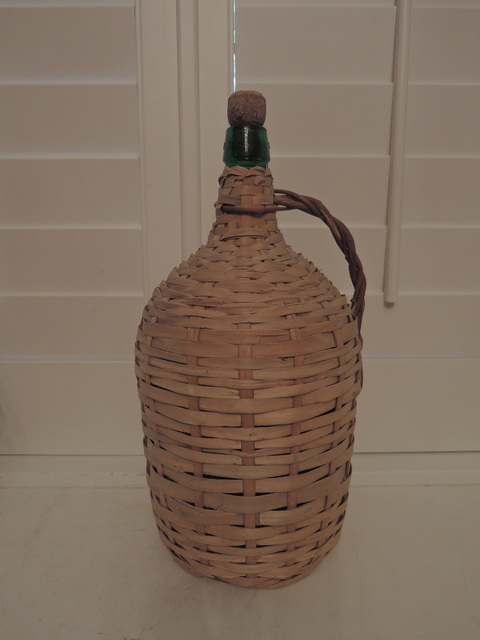 Old French Green Glass Demijohn Bonbonne Wine Bottle Wicker Rattan Cork