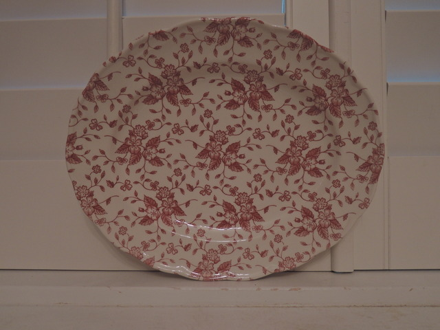 "Vintage Royal Tudor Bouquet Grindley Pink 11.5"" Platter Red Transferware"