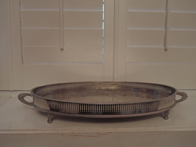 Huge Vintage Sheffield Silverplate Handled Footed Gallery Tray Serving Platter Silver