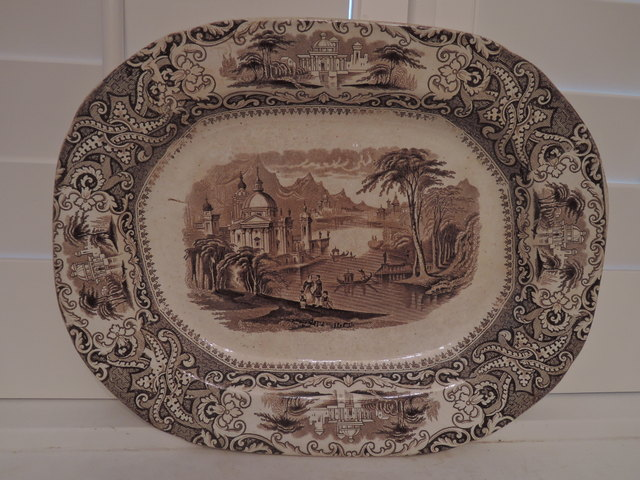 Antique Victorian Ironstone China Royal Arms Brown Transferware Platter