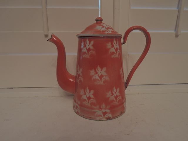 Antique French Enamelware Pink Stenciled Coffee Pot Enamel 1930's