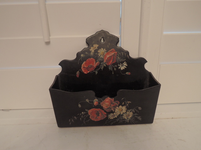 Victorian Antique Paper Mache Black Lacquer Mail Wall Pocket Poppies
