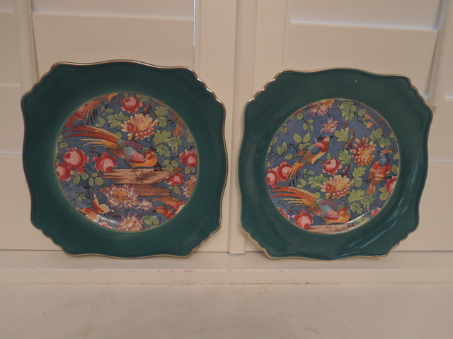 "Rare! Pair of Royal Winton Chintz Green Merton 9"" Plates Exotic Birds"