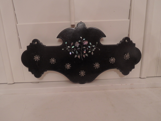 Antique Victorian Black Lacquer Paper Mache Mother of Pearl Jewelry Necklace Holder