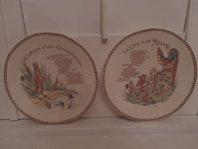 "Antique Pair French G.D. Paris Childs Plate Dish Rooster Rabbit 8"" Plates"