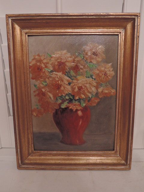 Framed French Still Life Oil on Board Painting Picture Floral Autumn Colors Signed & Dated