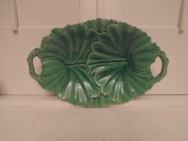 Antique Copeland Green Leaf Majolica Handled Platter Dish Plate
