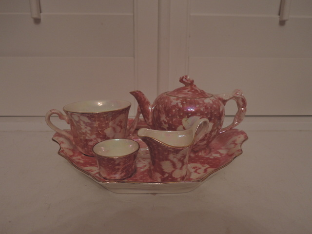 Vintage Royal Winton Chintz Pink Rose Brocade Breakfast Set Teapot Rosebud