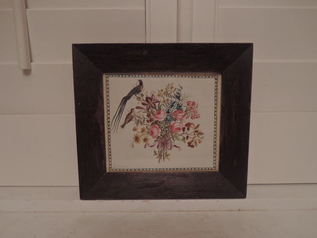 Antique 19th C. Framed Watercolor Still Life Painting Pink Roses Bouquet w/Birds