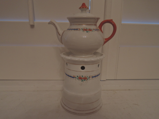 Antique Old Vieux Paris Teapot Veilleuse Warmer Set Porcelain