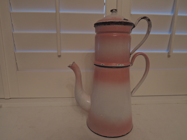 Vintage French Enamel Biggin Coffee Pot Pink & White Enamelware 1920's