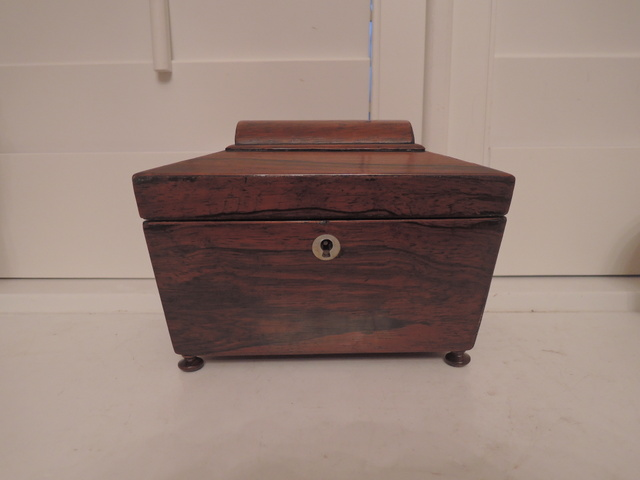 19th C. Antique English Regency Rosewood Tea Caddy Wood Box
