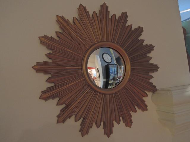 Vintage French/Belgium Gilt Sunburst Starburst Convex Mirror
