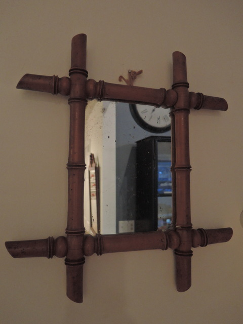 Antique French Faux Bamboo Wooden Carved Mirror 19th C.