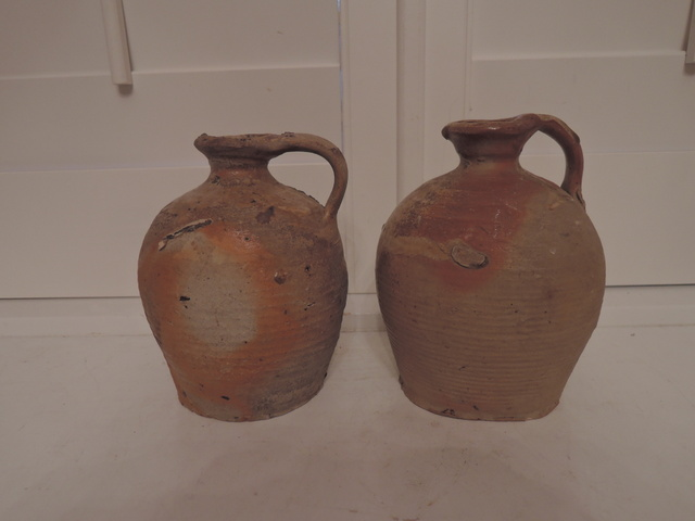 Antique French 19th C. Primitive Pair Terracotta Stoneware Glaze Pottery Jugs
