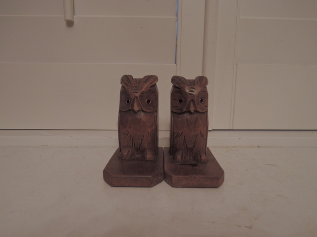 Antique German Hand Carved Wooden Owl Bookends w/Glass Amber Eyes