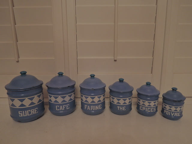 Vintage French Enamelware 6 Piece Canister Set Robin's Egg Blue & White