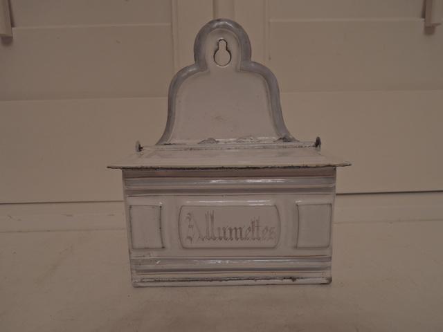Vintage French White Enamelware Allumettes Match Box Holder Enamel 1930's