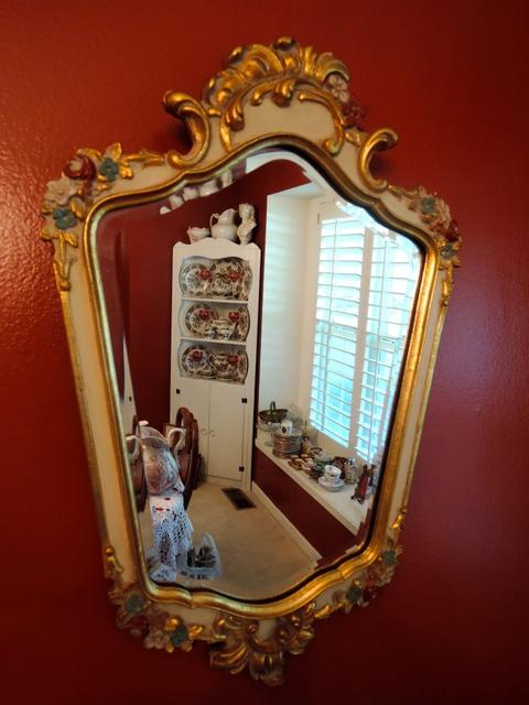 Vintage Fabulous French Beveled Gilt Wood Frame Rococo Mirror