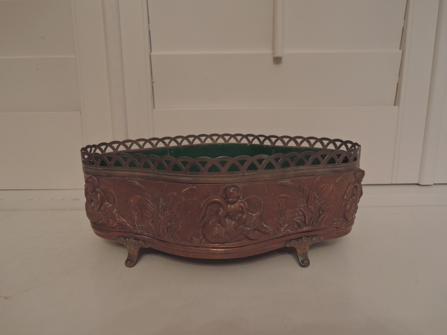 Vintage French Ornate Copper Jardiniere Planter Cache Pot w/Liner Cherubs